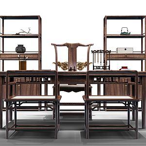 实木书桌装饰架组合模型