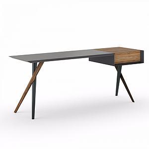 创意实木桌书桌模型