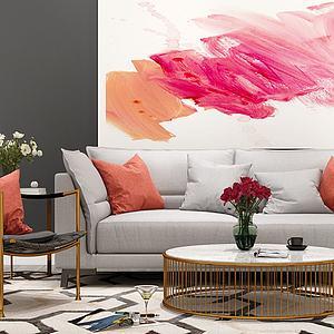 现代沙发圆茶几模型