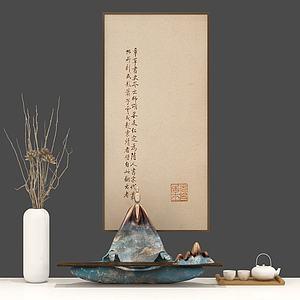 人物摆件花瓶茶具组合模型