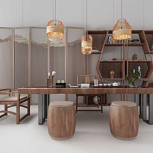 中式茶桌椅?#39318;?#23631;风组合模型