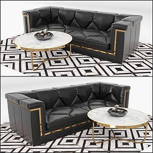 后现代双人沙发茶几组合模型