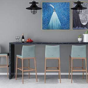 3d北欧吧台吧椅组合模型