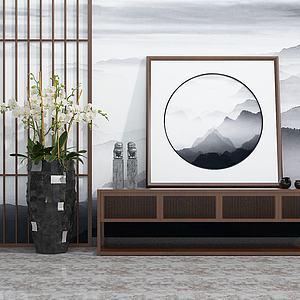 新中式實木邊柜盆栽擺件模型3d模型