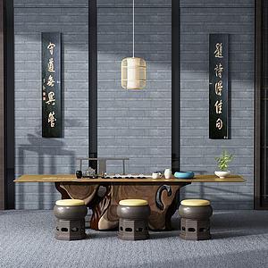 中式泡茶桌椅子模型