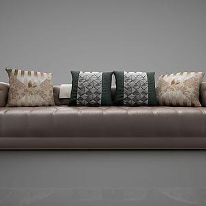现代皮革多人沙发模型