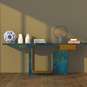 实木简约边桌模型