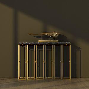 中式创意金属边桌模型