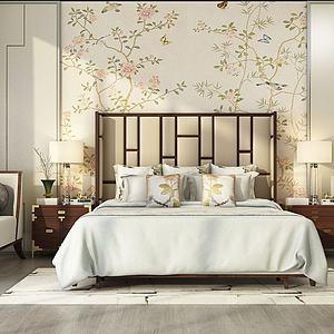 3d现代田园卧室双人床模型