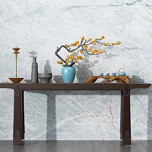 新中式实木边桌模型