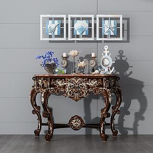 简欧实木边桌模型