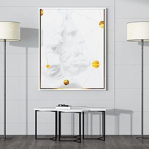 现代简约边桌壁画落地灯模型