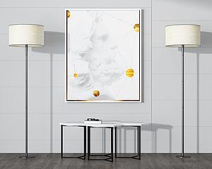 现代简约边桌壁画落地灯模型3d模型