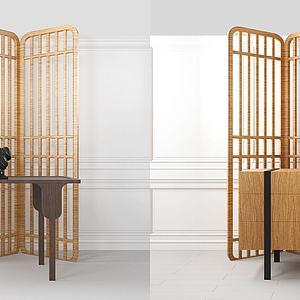 现代实木边桌隔断模型