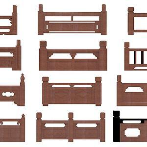 中式栏杆组合模型