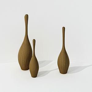 竹编桌面摆件组合模型