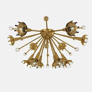 创意金属吸顶灯模型