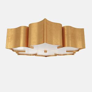 金属花瓣造型吸顶灯3d模型