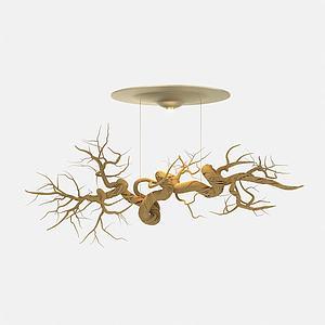 根雕创意吸顶灯3d模型