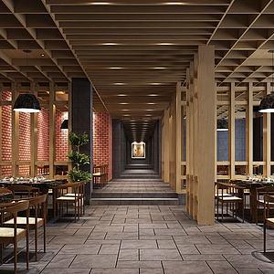 现代餐厅餐馆空间模型3d模型