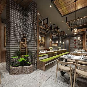 新中式餐厅餐馆模型3d模型