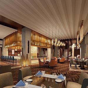 现代多功能餐厅模型3d模型