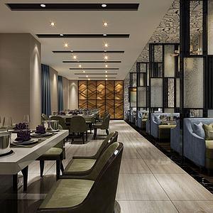 中式餐厅餐馆模型3d模型