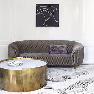 现代多人沙发茶几组合模型