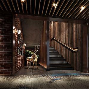 3d现代走廊楼梯模型