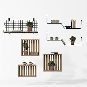 实木绿植陈列架模型