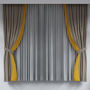 素色窗帘模型
