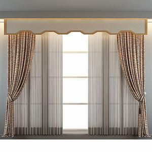 中式花色窗帘模型