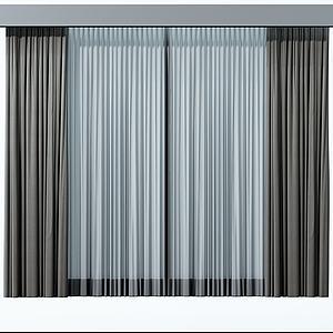 中式双色窗帘模型