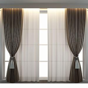 中式单色窗帘模型