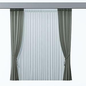 简约窗帘模型
