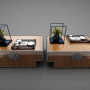 创意复古茶桌模型