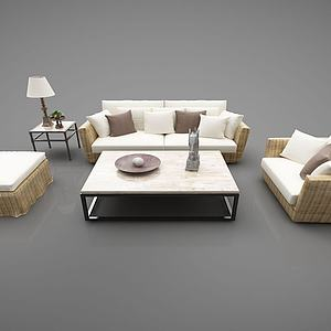 现代风格藤编沙发模型