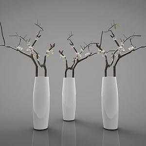 白色花瓶组合模型