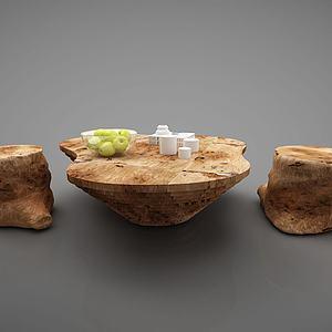 创意树墩茶桌椅子模型