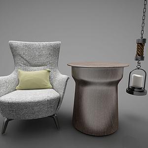 创意单椅铁桌吊灯组合模型