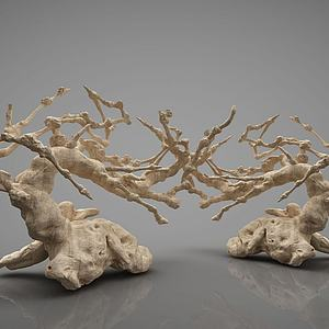 新中式树木摆件模型3d模型
