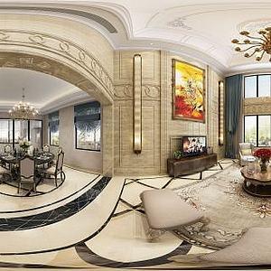 欧式风格客餐厅模型3d模型