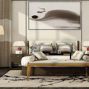 简约卧室双人床模型