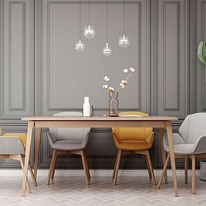 现代餐桌椅子组合模型
