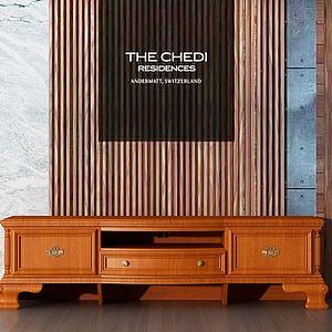 实木边柜电视柜模型