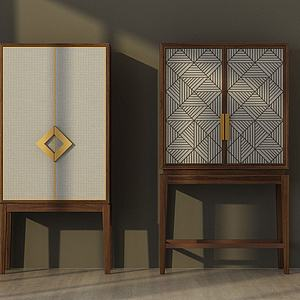 中式边柜衣柜模型