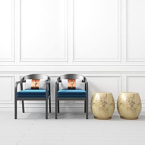 新中式单椅?#39318;?#32452;合模型