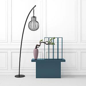创意落地灯置物柜组合模型