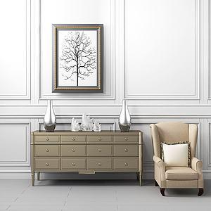 新中式边柜沙发组合模型
