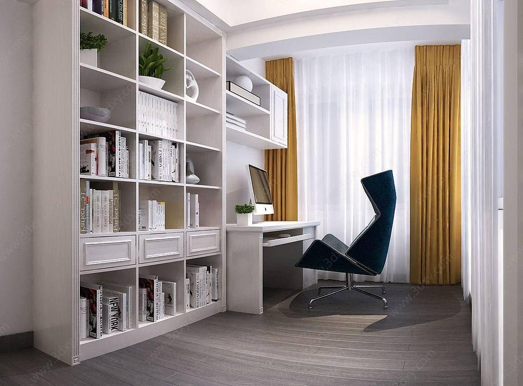 现代书房书柜书桌椅子